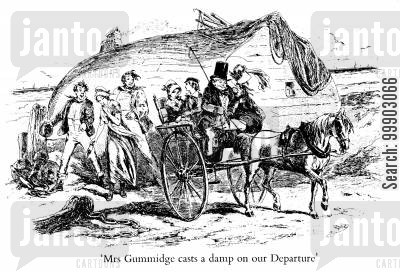 dickens cartoon humor: Mrs Gummidge casts a damp on our Departure