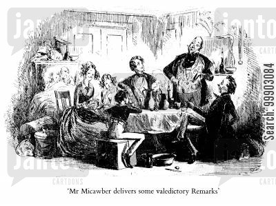 mrs micawber cartoon humor: Mr Micawber Delivers some Valedictory Remarks
