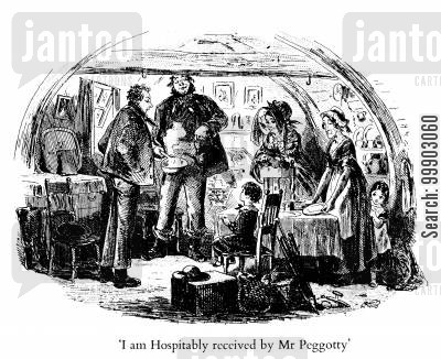 david cartoon humor: David Copperfield is Hospitably Received by Mr Peggotty