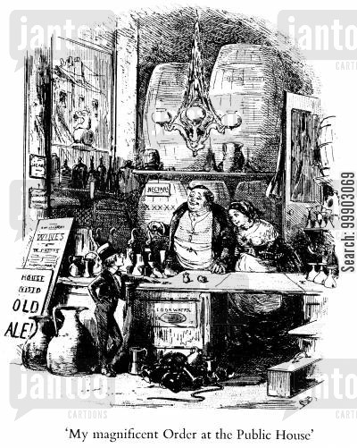 c dickens cartoon humor: David Copperfield's Magnificent Order at the Public House