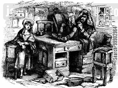 c dickens cartoon humor: Little Nell and Mr Quilp (opening to Ch. 6)