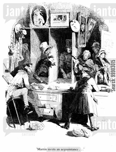 c dickens cartoon humor: Martin Meets Montague Tigg in the Pawnbroker's Shop