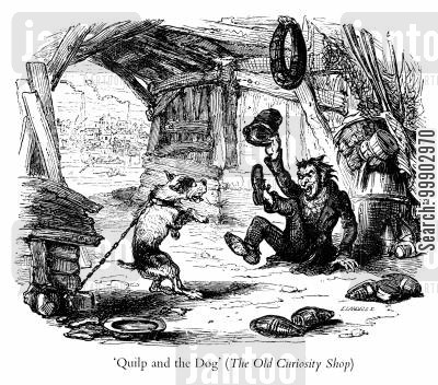 dickensian cartoon humor: Mr Quilp and the Dog