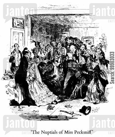 c dickens cartoon humor: The Nuptials of Miss Pecksniff Receive a Temporary Check