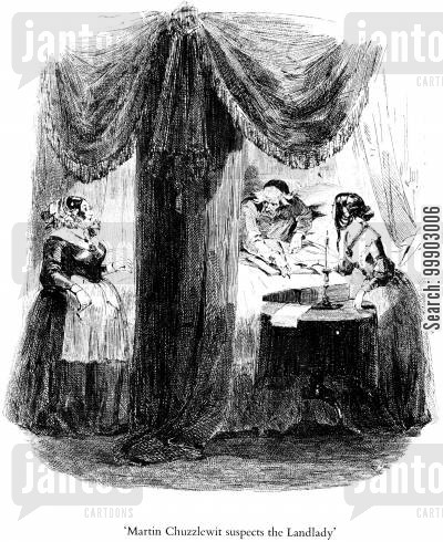 c dickens cartoon humor: Old Martin Chuzzlewit Suspects the Landlady without Reason