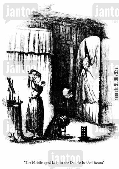 pickwick papers cartoon humor: The Middle Aged Lady in the Double Bedded Room