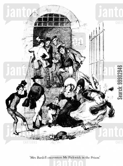 bardell cartoon humor: Mrs Bardell Encounters Mr Pickwick in the Prison