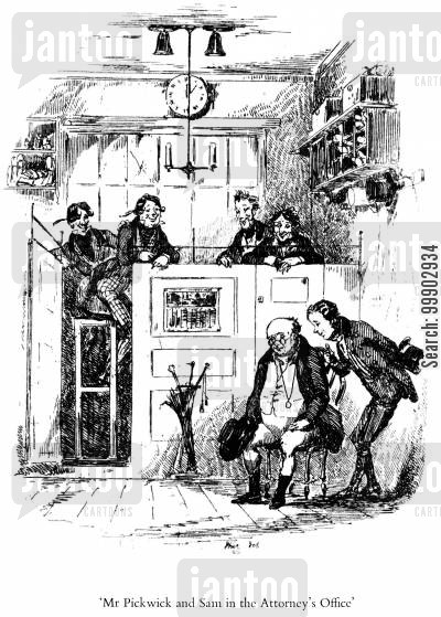 c dickens cartoon humor: Mr Pickwick and Sam in the Attorney's Office