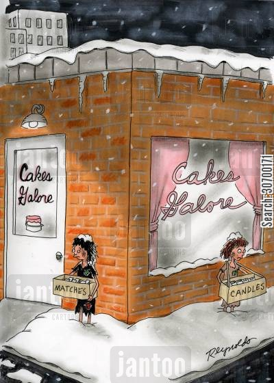 cake stores cartoon humor: Cakes Calore - girls outside selling matches and candles.