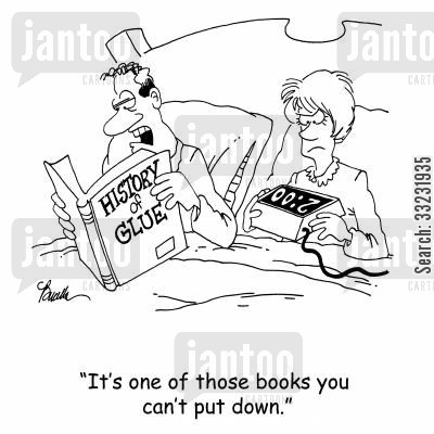 read in bed cartoon humor: 'It's one of those books you can't put down.'