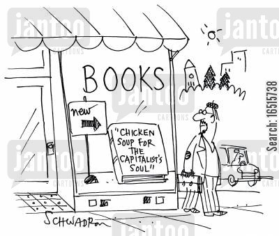 business books cartoon humor: Chicken Soup for the Capitalist's soul.