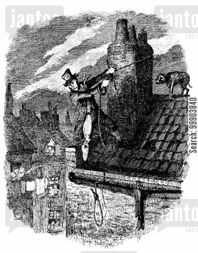 roof tops cartoon humor: Oliver Twist - Sikes Attempts his Escape