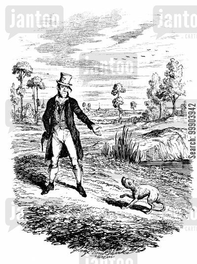 dickens cartoon humor: Oliver Twist - Sikes Attempts to Kill Bulls-Eye,his Dog