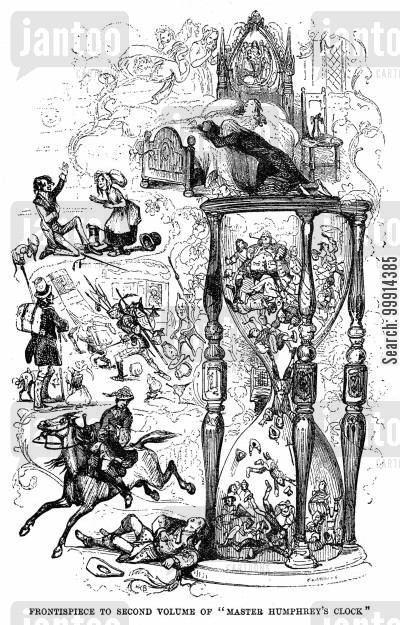 serial cartoon humor: Frontispiece to the second volume of 'Master Humphrey's Clock'