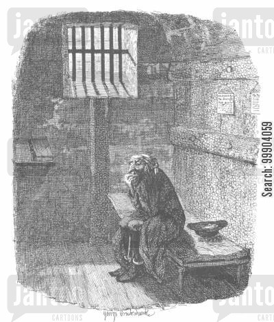 jails cartoon humor: Oliver Twist - Fagin Awaiting Execution