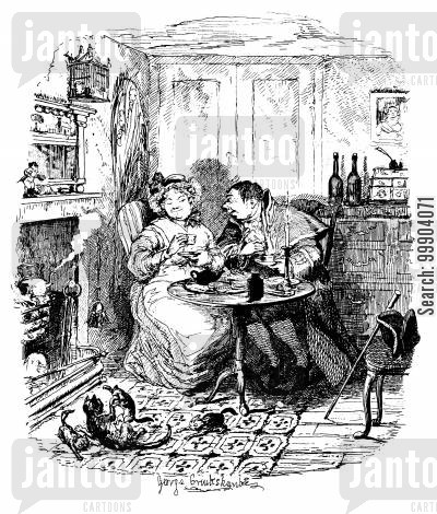 teatime cartoon humor: Oliver Twist - Mr Bumble and Mrs Corney Taking Tea
