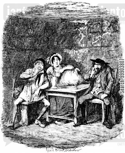 c dickens cartoon humor: Oliver Twist - Fagin Contracts the Aid of Morris Bolter