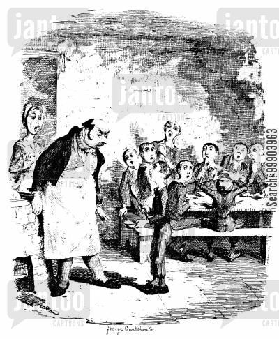 victorian workhouse cartoon humor: Oliver Twist - Oliver Asks for More