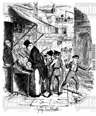 pickpocketing cartoon humor: Oliver Twist - Oliver,with the Pickpocketing Artful Dodger's Mode