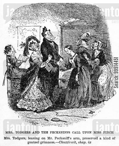 martin chuzzlewit cartoon humor: Mrs. Todgers and the Pecksniffs call upon Miss Pinch