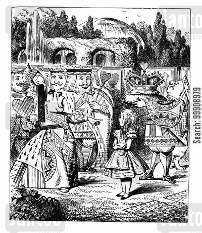children's literature cartoon humor: Alice in Wonderland - Alice Meets the Queen.