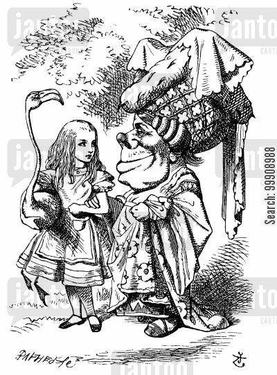 children's literature cartoon humor: Alice in Wonderland - Alice and the Duchess.
