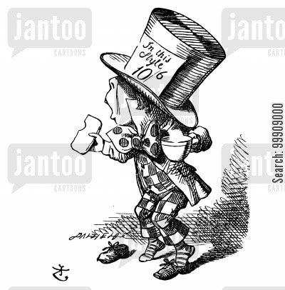 the hatter cartoon humor: Alice in Wonderland - The Mad Hatter.