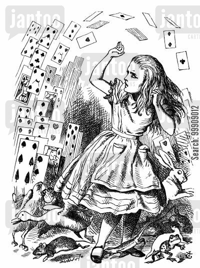 cards cartoon humor: Alice in Wonderland: The Queen Turns into a Pack of Cards.