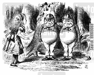 children's literature cartoon humor: Alice Through the Looking Glass - Alice Meets Tweedledum and Tweedledee.