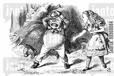 tweedledee cartoon humor: Alice Through the Looking Glass - Tweedledum Tears at his Hair.