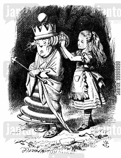 children's literature cartoon humor: Alice Through the Looking Glass - Alice and the White Queen