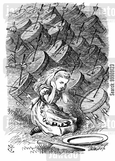 children's literature cartoon humor: Through the Looking Glass - Alice and the Drums.
