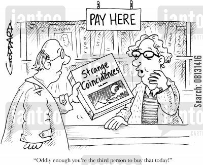 coincidence cartoon humor: 'Oddly enough you're the third person to buy that today!'