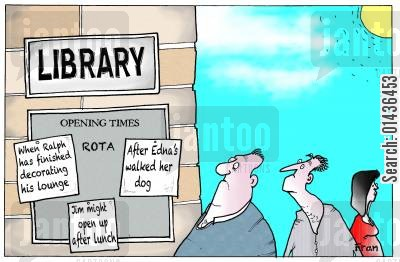closures cartoon humor: Big Society and libraries