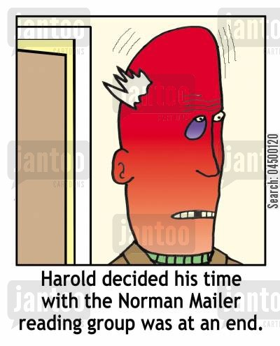 finish cartoon humor: 'Harold decided his time with the Norman Mailer reading group was at an end.'