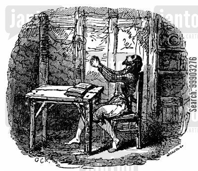 daniel defoe cartoon humor: Robinson Crusoe - In his Hut