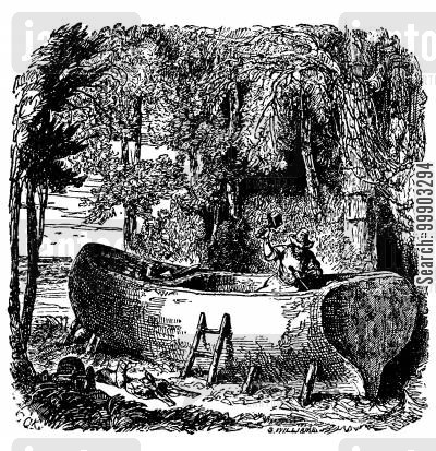 daniel defoe cartoon humor: Robinson Crusoe - Working on his Boat