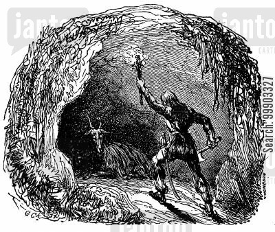 daniel defoe cartoon humor: Robinson Crusoe- Encounter with a Goat