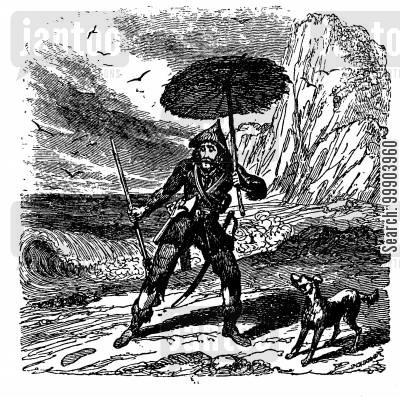 daniel defoe cartoon humor: Robinson Crusoe - Discovery of the Footprint on the Beach