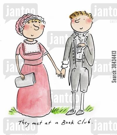 darcy cartoon humor: They met at a Book Club.