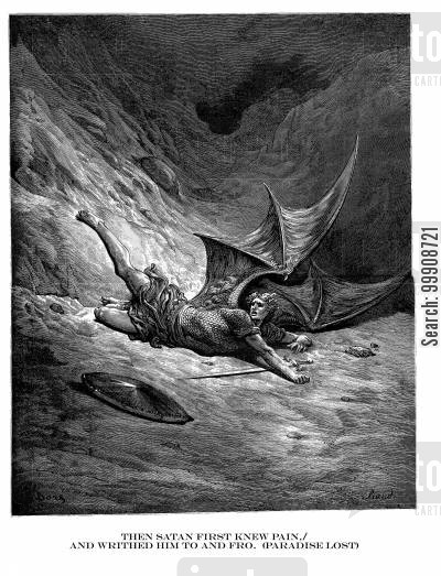 paradise lost cartoon humor: Then Satan First Knew PainAnd Writhed Him To and Fro. (Paradise Lost).