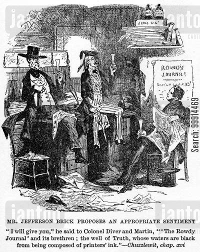 martin chuzzlewit cartoon humor: Mr. Jefferson Brick proposes an appropriate sentiment