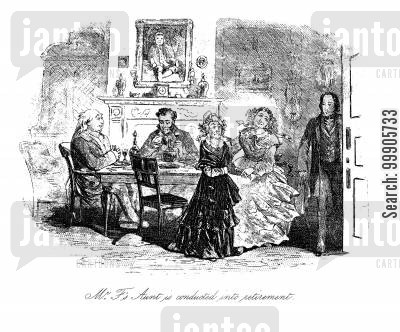 dickens cartoon humor: Little Dorrit - Mr F's Aunt is Conducted into Retirement