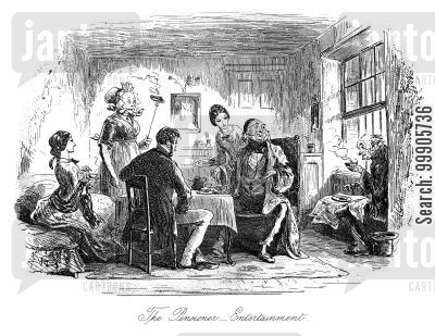 dickens cartoon humor: Little Dorrit - The Pensioner Entertainment