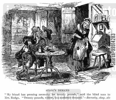 dickens cartoon humor: Stagg's demand
