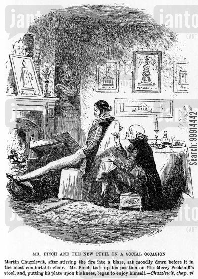 martin chuzzlewit cartoon humor: Mr. Pinch and the new pupil on a social occasion