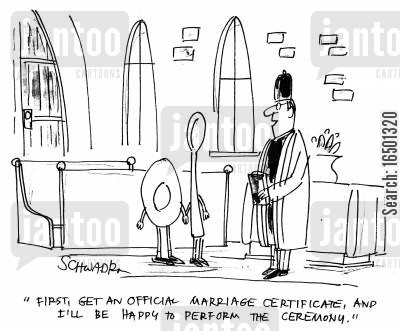 elopement cartoon humor: First, get an official marriage certificate, and I'll be happy to perform the ceremony.