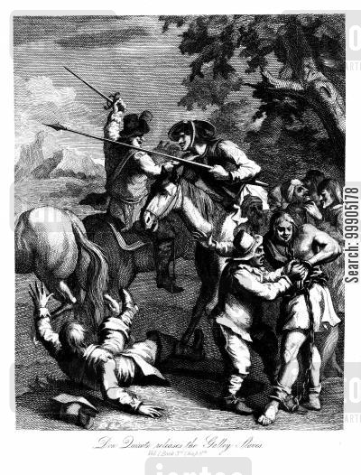 galleys cartoon humor: Don Quixote releases the Galley Slaves.