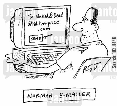 literary awards cartoon humor: Norman E-Mailer