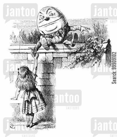 nursery rhyme cartoon humor: Through the Looking Glass - Alice and Humpty Dumpty.